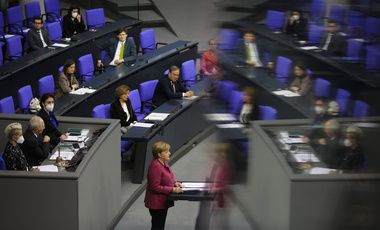 German Chancellor Angela Merkel delivers a speech about German government's policies to combat the spread of the coronavirus and COVID-19 disease at the parliament Bundestag, in Berlin, Germany, Thursday, Oct. 29, 2020.