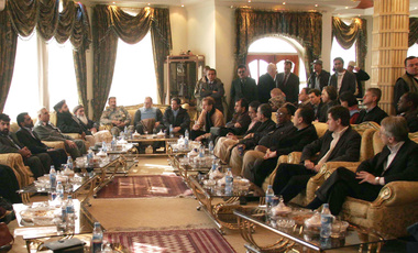 U.N. Security Council ambassadors, right side, meet Afghan officials in Herat, Afghanistan, Wednesday, Nov. 26, 2008. (AP Photo/Fraidoon Pooyaa)