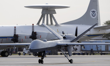 A Predator B unmanned aircraft taxis at the Naval Air Station in Corpus Christi, Texas.