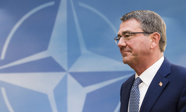 U.S. Secretary of Defense Ash Carter arrives for a meeting of the North Atlantic Council Defense Ministers at NATO headquarters in Brussels. October 26, 2016 (Geert Vanden Wijngaert/Associated Press). Kewyords: Ash Carter, NATO, Brussels