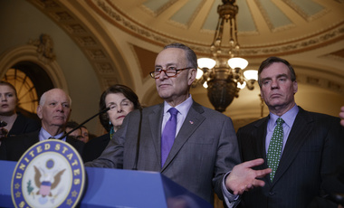 Senate Minority Leader Chuck Schumer, D-N.Y, joined by, from left, Sen. Ben Cardin, D-Md., the ranking member on the Foreign Relations Committee, Sen. Dianne Feinstein, D-Calif., the ranking member of the Senate Judiciary Committee, and Sen. Mark Warner, D-Va., vice chair of the Intelligence Committee, right, calls for an investigation into President Donald Trump's administration over its relationship with Russia, including when Trump learned that his national security adviser, Michael Flynn, had discussed