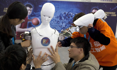 Several Chinese students during the World Robot Conference in Beijing, China, Oct. 21, 2016.