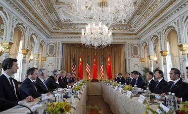 President Donald Trump, left, and Chinese President Xi Jinping participate in a bilateral meeting at Mar-a-Lago, Friday, April 7, 2017, in Palm Beach, Fla. Trump was meeting again with his Chinese counterpart Friday, with U.S. missile strikes on Syria adding weight to his threat to act unilaterally against the nuclear weapons program of China's ally, North Korea. (AP Photo/Alex Brandon)