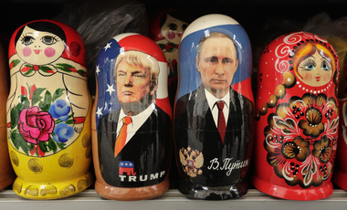 In this Monday, Feb. 20, 2017 file photo, traditional Russian nesting dolls called depicting US President Donald Trump, center left, and Russian President Vladimir Putin are displayed for sale at a souvenir street shop in St.Petersburg, Russia. (AP Photo/Dmitri Lovetsky, file)
