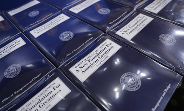 Copies of President Donald Trump's fiscal 2018 federal budget are laid out ready for distribution on Capitol Hill on May 23, 2017 (AP Photo/Pablo Martinez Monsivais).