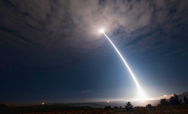 An unarmed Minuteman 3 ICBM launches from Vandenberg Air Force Base, California on Wednesday, August 2, 2107. (Senior Airman Ian Dudley/Vandenberg Air Force Base via AP)