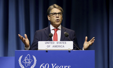 U.S. Energy Secretary Rick Perry delivers a speech during the general conference of the International Atomic Energy Agency in Vienna, Austria. September 18, 2017 (Ronald Zak/Associated Press).