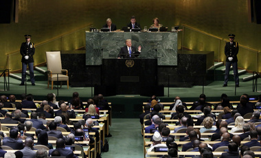 U.S. President Donald Trump addresses the 72nd session of the United Nations General Assembly, at U.N. headquarters on Tuesday, Sept. 19, 2017. (AP Photo/Richard Drew)
