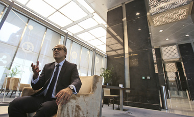 In this Monday, Oct. 30, 2017, photo, Jihad Azour, International Monetary Fund Director of the Middle East and Central Asia talks with the Associated Press reporter at the Dubai International Financial Center in Dubai, United Arab Emirates. (AP Photo/Kamran Jebreili)