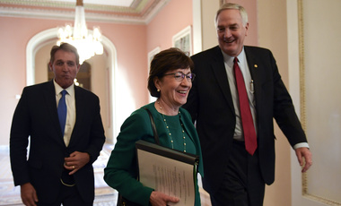 Sen. Susan Collins, R-Maine, center, walks with Sen. Jeff Flake, R-Ariz., left, and Sen. Luther Strange R-Ala., right, on Capitol Hill on Dec. 1, 2017 (AP Photo/Susan Walsh).