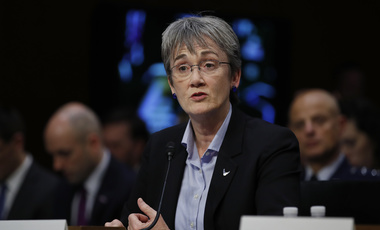 "Air Force Secretary Heather Wilson testifies during a Senate Judiciary Committee hearing on Capitol Hill in Washington. December 6, 2017. ""I cannot think of a military mission that does not depend on space,"" Wilson recently said (Carolyn Kaster/Associated Press). Keywords: Heather Wilson, Air Force, space"