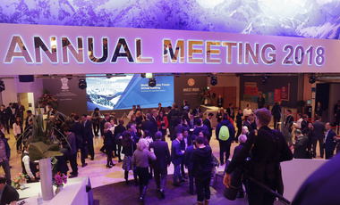 People arrive for the ceremony for the Crystal Awards on the eve of the annual meeting of the World Economic Forum in Davos, Switzerland. January 22, 2018 (Markus Schreiber/Associated Press). Keywords: Davos, World Economic Forum
