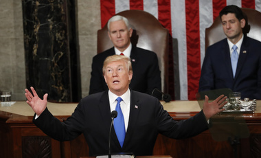President Donald Trump delivers his State of the Union address to a joint session of Congress on Capitol Hill in Washington. January 30, 2018 (Pablo Martinez Monsivais/Associated Press).