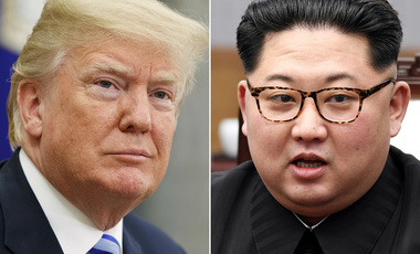 In this combination of file photos, U.S. President Donald Trump, left, in the Oval Office of the White House in Washington on May 16, 2018, and North Korean leader Kim Jong Un in a meeting with South Korean leader Moon Jae-in in Panmunjom, South Korea, on April 27, 2018. (AP Photo/Evan Vucci, Korea Summit Press Pool via AP, File)