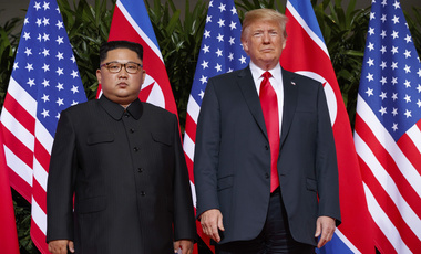 In this June. 12, 2018, file photo, U.S. President Donald Trump meets with North Korean leader Kim Jong Un on Sentosa Island, in Singapore. (AP Photo/Evan Vucci, File)