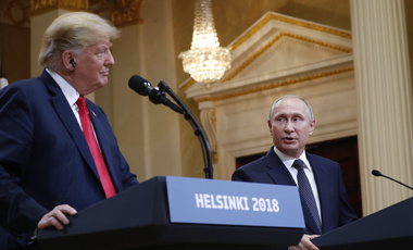 U.S. President Donald Trump and Russian President Vladimir Putin during their joint news conference at the Presidential Palace in Helsinki, Finland, Monday, July 16, 2018.
