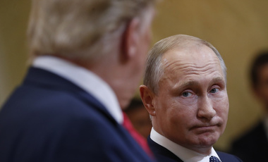Presidents Trump and Putin exchange a glance during their controversial summit in Helsinki, Finland, July 16, 2018.