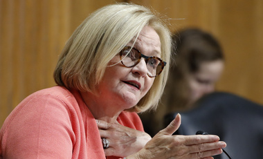 Senator Claire McCaskill, who recently claimed that Russian hackers targeted her office computer network, at a hearing on Capitol Hill, June 20th, 2018.