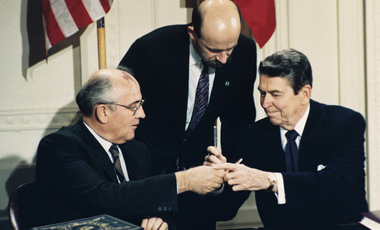 Reagan and Gorbachev signing INF Treaty in 1987