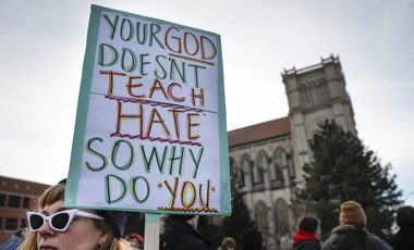 A protest outside the Catholic Diocese of Covington, KY, after the behavior of several Covington Catholic High School students provokes a huge backlash online, January 22, 2019.