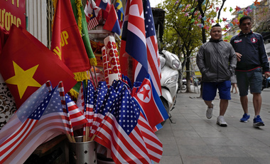 Photo of U.S. and North Korean flags on sale in Hanoi, Vietnam.