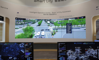 A Huawei's smart city system is displayed at the showroom in Shenzhen city, China's Guangdong province, Wednesday, March 6, 2019.