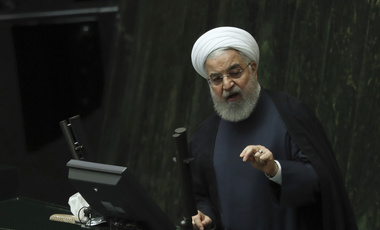 Iranian President Hassan Rouhani speaks at a session of parliament in Tehran on Sept. 3 (AP Photo/Vahid Salemi).