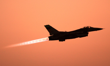 In this Thursday, June 21, 2007 file photo, an F-16 Falcon takes off from Balad Air Base, 50 miles north of Baghdad, Iraq. (AP Photo/ Maya Alleruzzo, File)