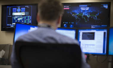 A cyber threat map adorns a wall of the Cyber Security Operations Center at AEP headquarters in Columbus, Ohio on Wednesday, May 20, 2015.