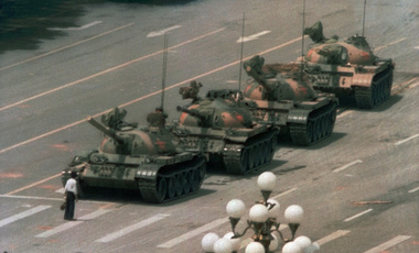 A man stands resolutely in the way of line of tanks in Tiananmen Square, June 5, 1989.