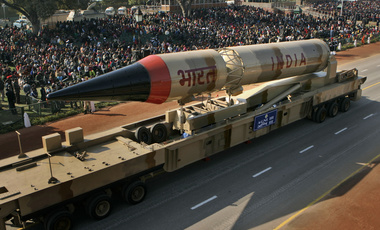 Indian Army missile on display in parade