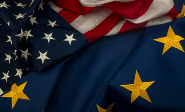 The U.S. and the EU flags together