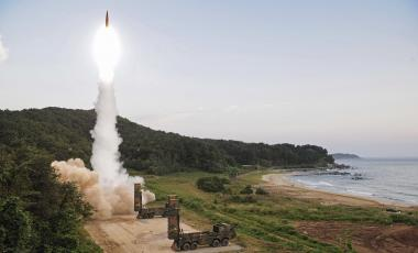 In this Monday, Sept. 4, 2017 file photo provided by South Korea Defense Ministry, South Korea's Hyunmoo II ballistic missile is fired during an exercise at an undisclosed location in South Korea. South Korean warships have conducted live-fire exercises at sea. The drills Tuesday, Sept. 5, mark the second-straight day of military swagger from a nation still rattled by the North's biggest-ever nuclear test.