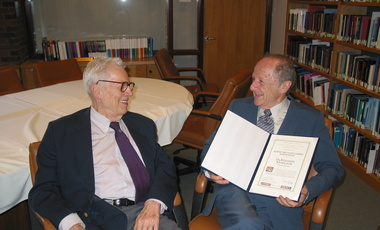 Matthew Meselson (right) in 2004 with the late Paul Doty, Belfer Center founder, who congratulated Meselson for receiving the Albert and Mary Lasker Foundation Special Achievement Award.