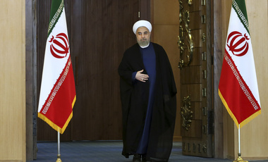 Iran's President Hassan Rouhani arrives for an address to the nation after a nuclear agreement was announced in Vienna, in Tehran, Iran, July 14, 2015. (AP Photo/Ebrahim Noroozi)