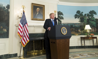 President Trump speaking about Iran at the White House in October 2017 (White House Photo).