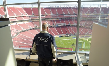 Jeh Johnson, then Secretary of DHS, inspects the security at Levi's Stadium in Santa Clara, California, before Super Bowl 50.