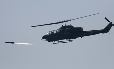 A U.S. made AH-1W attack helicopter launches a Hellfire missile Thursday, July 20, 2006, in Ilan, Taiwan.