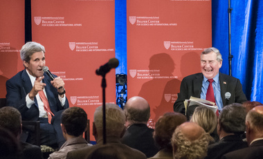 Secretary of State John Kerry discusses critical world issues with Belfer Center Director Graham Allison during a conversation with faculty and students at Harvard in October 2015.