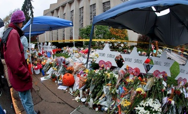 A makeshift memorial on Saturday outside the Tree of Life synagogue in Pittsburgh, where 11 people were fatally shot on Oct. 27. (Keith Srakocic/AP)