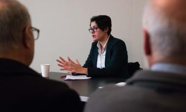 Ariane Tabatabai speaks at a Belfer Center event.