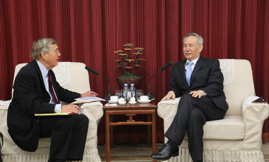 U.S.-China Engagement: Graham Allison meets in Beijing in March 2015 with Liu He, Deputy Director of the National Development and Reform Commission and Kennedy School alumnus. Liu is a major economic advisor to President Xi Jinping (​​​​​​​Central Leading Group)