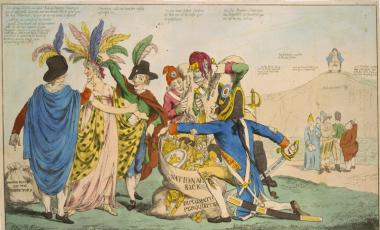 A British political cartoon satirizing the XYZ Affair: Lady Liberty, the U.S., is being robbed by five Frenchmen. The figures grouped off to the right are other European countries including Great Britain, who sit laughing at the U.S. from afar.