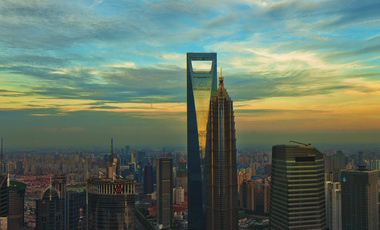 Aerial view of Shanghai World Financial Center and Jin Mao Tower