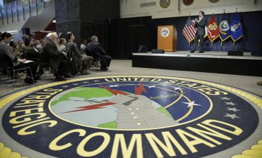 U.S. Secretary of Defense Mark Esper holds a Q&A session during a visit to the U.S. Strategic Command at Offutt AFB, Neb., Thursday, Feb. 20, 2020.