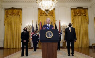 President Joe Biden speaks during an event Monday, March 8, 2021, in the East Room of the White House in Washington