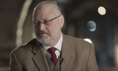 Jamal Khashoggi speaks during an interview at an undisclosed location in March 2018