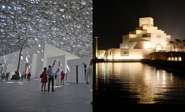 Left: The Louvre Museum's opening day in Abu Dhabi. | Right: The Museum of Islamic Art illuminated in Doha, Qatar