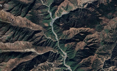 A satellite view of Shigatse, Tibet, home to the PLA's 6th Border Defense Regiment, near the China-India border.