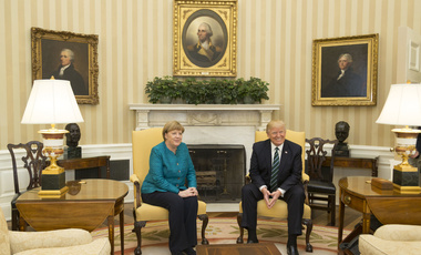 Angela Merkel and Donald Trump in the Oval office